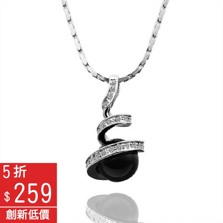 18K鍍金璀璨閃耀晶鑽鑲珠吊墜項鍊【Q02KN423】-預購