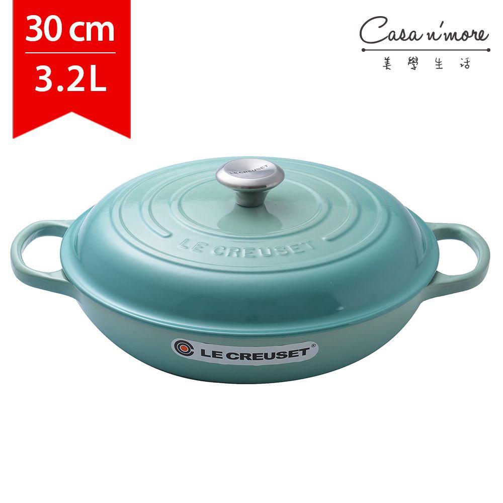 Le Creuset 壽喜燒鑄鐵鍋 壽喜燒鍋 淺圓鍋 淺鍋 30cm 3.2L 冷薄荷 法國製