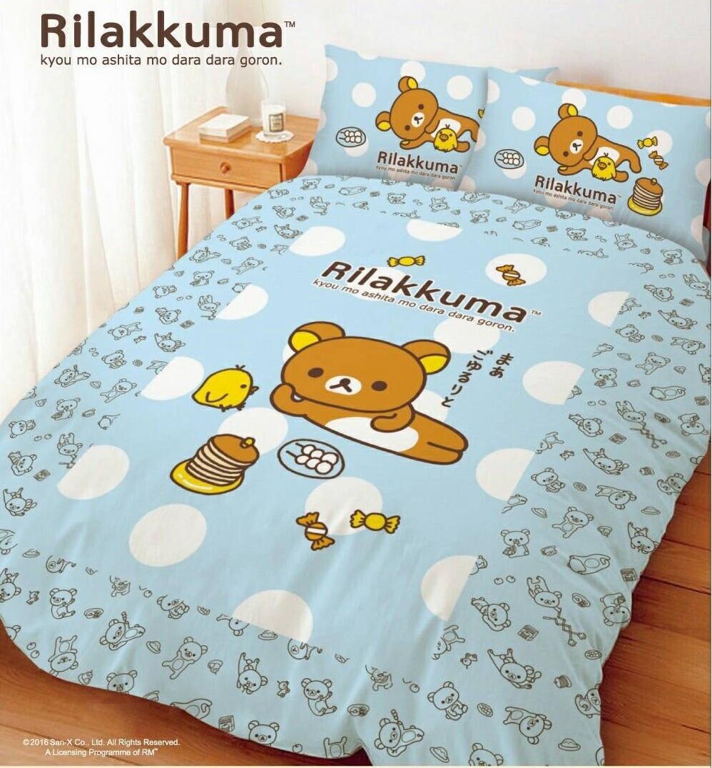 【UNIPRO】拉拉熊 Rilakkuma 5X6.2尺 雙人床包組(枕頭套X2+床單X1)  小憩片刻 San-X 正版授權 台灣精品