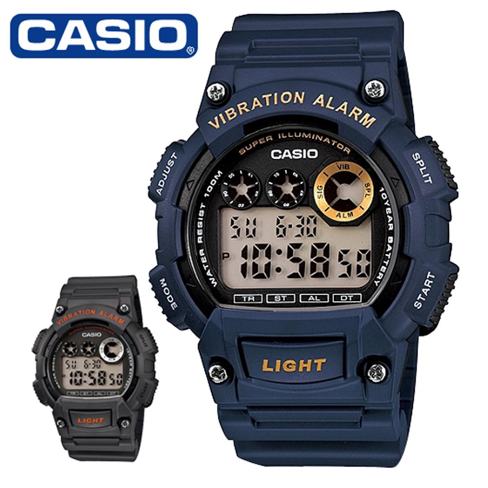 CASIO 卡西歐 W-735H 沉穩色系震動鬧鈴功能防水電子錶