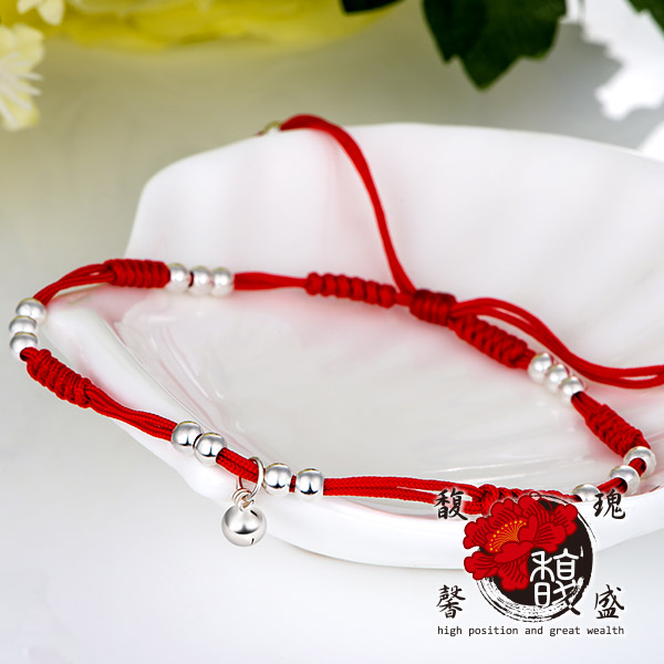 銀鍊 日月三元紅線腳鍊 鍍銀 編織 桃花 情侶 招財 紅線 含開光 馥瑰馨盛