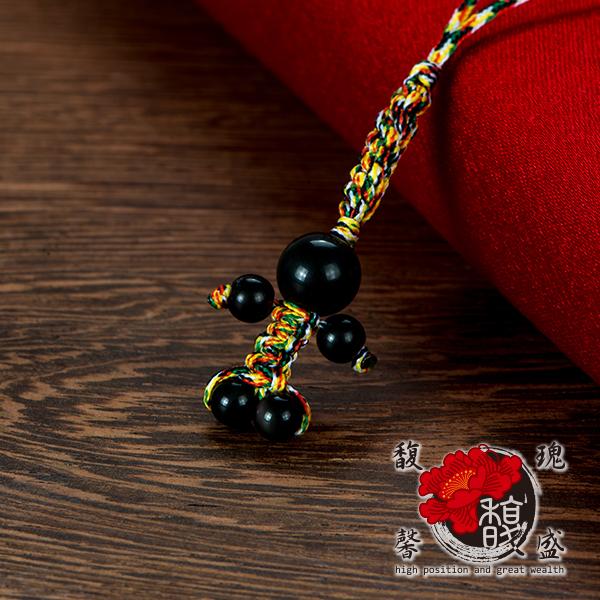 手工 黑曜石小貴人吊飾 黑 天然 水晶 五行 防小人 開運  含開光 馥瑰馨盛NS0272