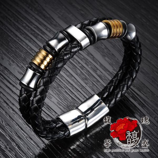 男款 金環如意皮製手鍊 皮 個性 編織 黑色 扣環 人緣 招財 事業  含開光 馥瑰馨盛NS0376