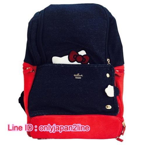 【真愛日本】16101300044 HM聯名後背包-隱藏KT深藍紅   三麗鷗Hello Kitty凱蒂貓 後背包 背包 書包