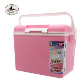 【Captain Stag】日本鹿牌 M-8130 14L輕便冰桶 行動冰箱/保鮮桶/保冷保冰 附背帶、可手提攜帶 粉色