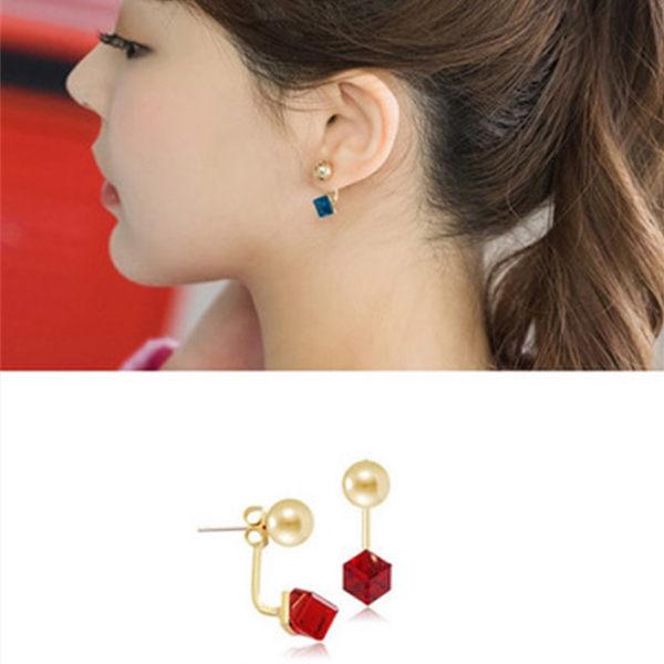 PS Mall 韓國韓版耳飾女裝飾品氣質前後掛式水晶水立方時尚耳環耳釘耳墜【G1997】