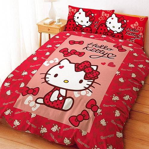 【UNIPRO】Hello Kitty 凱蒂貓 5X6.2尺 雙人床包組(枕頭套X2+床單X1) 蝴蝶結甜心 (紅) 三麗鷗正版授權 台灣精品 KT