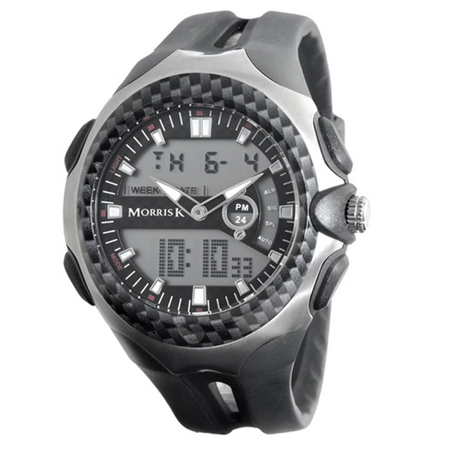 【Morris K】羅志祥代言 雙色雙顯錶 47mm大錶面 多功能 MK14089-BK