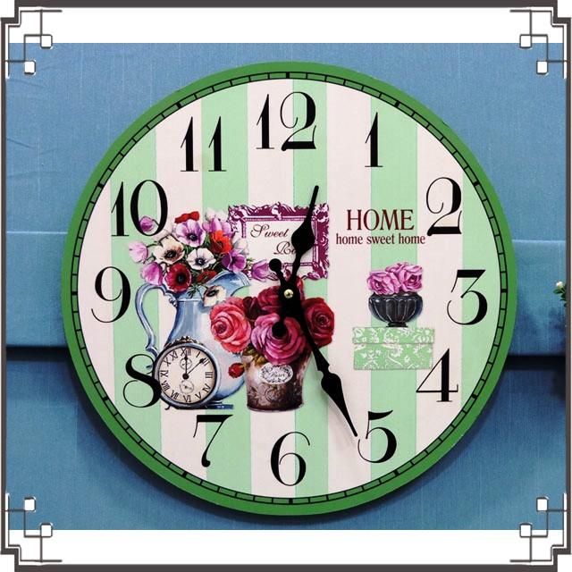 木製圓掛鐘《CA7》鄉村掛鐘 玫瑰木製掛鐘 圓形掛鐘 壁鐘 壁飾 居家布置◤彩虹森林◥