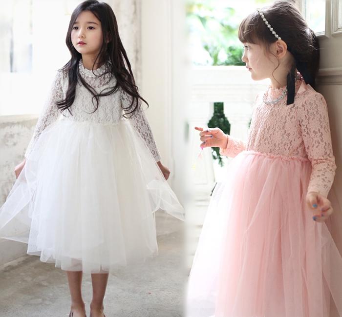 【貝貝樂SHOW】唯美浪漫飄逸淑女氣質蕾絲公主領鑽石項鏈蕾絲洋裝長紗裙~粉色、白色