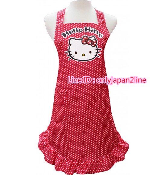 【真愛日本】13081400029親子圍裙L-愛心紅結   三麗鷗 Hello Kitty 凱蒂貓 廚房用品 兒童圍裙