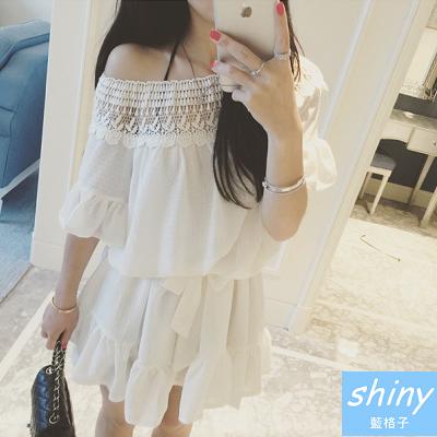 【V0927】shiny藍格子-夏日仙女.純色拼接一字領寬鬆荷葉袖連身裙