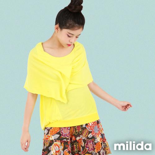 【Milida,全店七折免運】-秋天物語-T恤款-假兩件式披肩衣