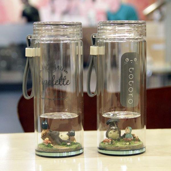 =優生活=日本宮崎駿可愛龍貓微景觀玻璃水杯 創意水杯 學生兒童雙層玻璃水杯子 立體公仔杯 聖誕交換禮物 小號200ML