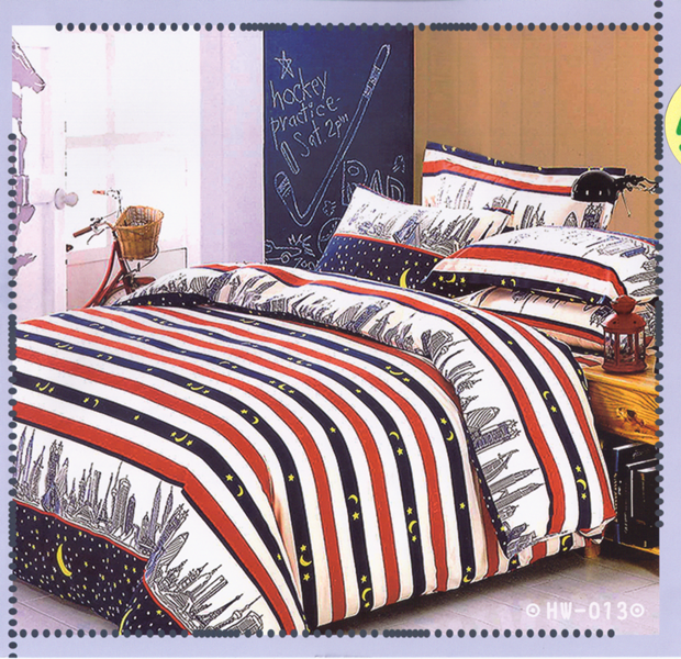 ✧臺灣製✧舒柔棉磨毛超細纖維床包組《HW-0013》5X6.2尺雙人床包組+兩用被 四件組◤彩虹森林◥