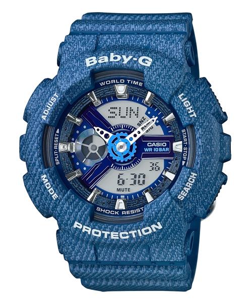 CASIO BABY-G BA-110DC-2A2牛仔丹寧雙顯流行腕錶/43.4mm