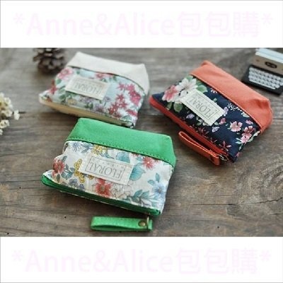 * Anne&Alice包包購 * ~韓系經典風尚唯美花漾帆布拉鍊式零錢包特價中~多種顏色可供選擇~*