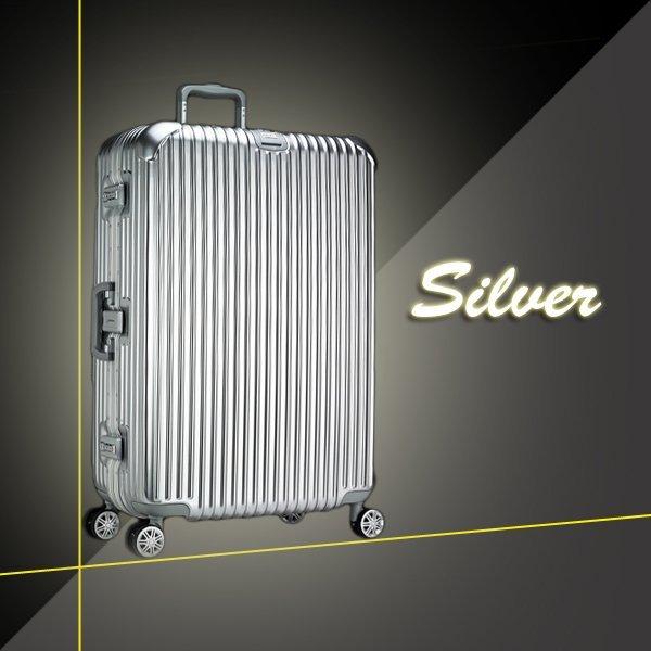 【加賀皮件】 YC eason 限時特惠款再減200元 29吋 行李箱 鋁框 直條紋 復刻款 亮面 拉桿箱 旅行箱 (尊榮)