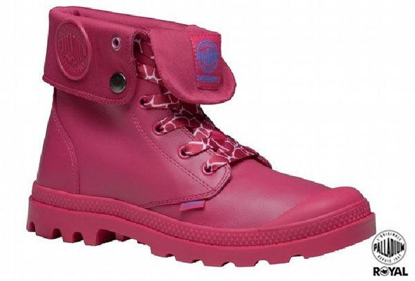 Palladium 新竹皇家 Palladium Baggy 桃色 皮質 防水 爆裂紋 反摺靴 女款 NO.I6247
