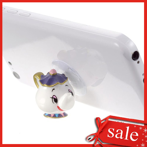 【真愛日本】4936313684469 造型手機吸盤-茶壺媽媽  迪士尼 美女與野獸  手機架 3c周邊  誕節 交換禮物 聖誕市集
