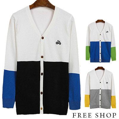Free Shop【QTJMY060】韓版修身腳踏車刺繡色塊撞色拼接V領排釦針織衫罩衫外套‧三色