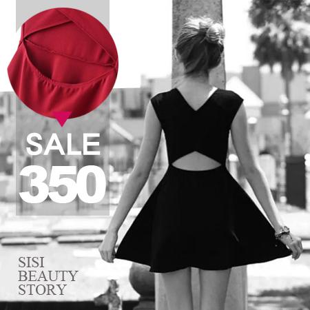SISI【D6132】歐美性感交叉鏤空露腰縮腰顯瘦傘襬連身裙洋裝