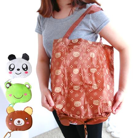 可愛動物摺疊防水環保購物袋 摺疊袋 收納袋 手提袋 環保袋 購物包 圓仔 熊貓 小熊 青蛙【N200798】