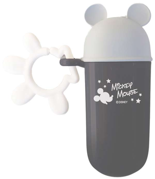 ★衛立兒生活館★日本 迪士尼 Disney 米奇長條型零食收納盒~灰