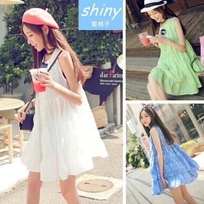 【V0834】shiny藍格子-夏日輕甜.刺繡花朵層次裙襬連身背心洋裝