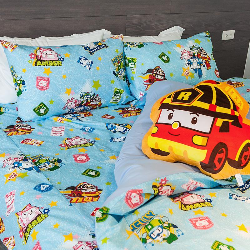 床包 / 單人【波力救援小英雄-藍】含一件枕套,磨毛多工法處理,戀家小舖台灣製