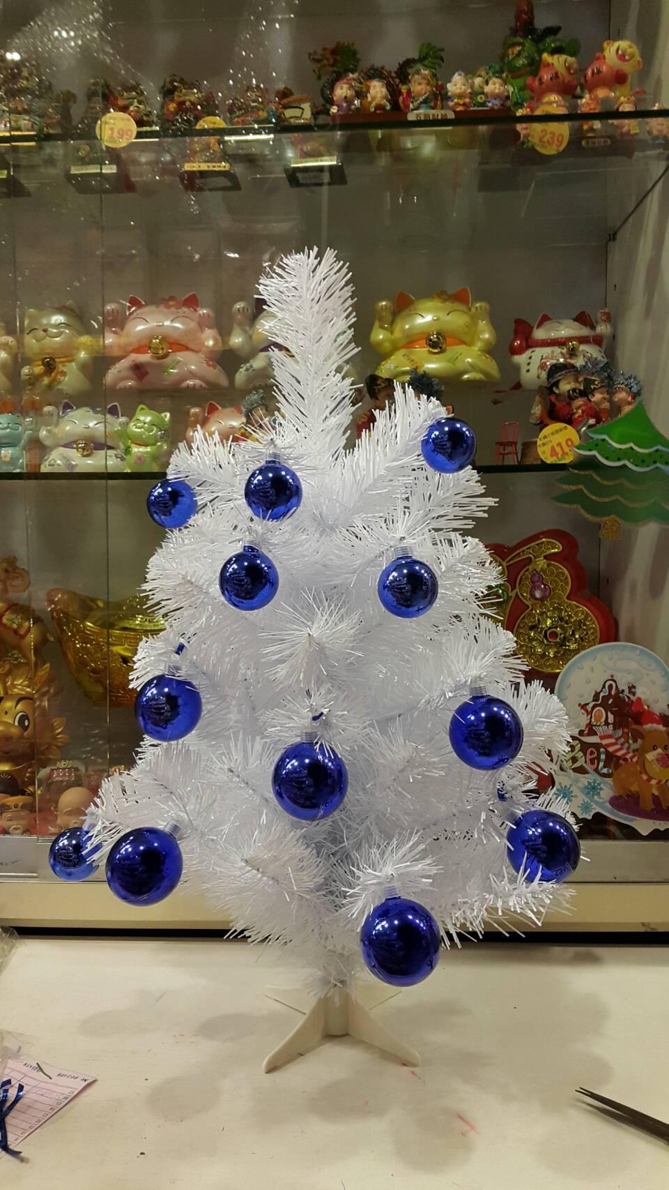 X射線【X070002】2呎成品圓頭樹-白(含深藍鍍金球),聖誕樹/聖誕佈置/聖誕/茂密樹