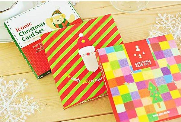 =優生活=(10張組$60元)Merry Christmas卡通可愛聖誕卡 聖誕盒裝卡片套裝/賀卡 10入送封口貼