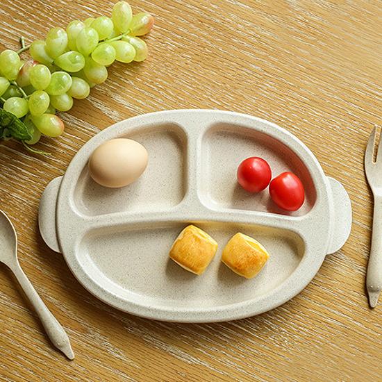 ♚MY COLOR♚分格餐盤三件套 兒童 餐具 湯匙 叉子 環保 止滑 手柄 用餐 外出 廚房【L162】