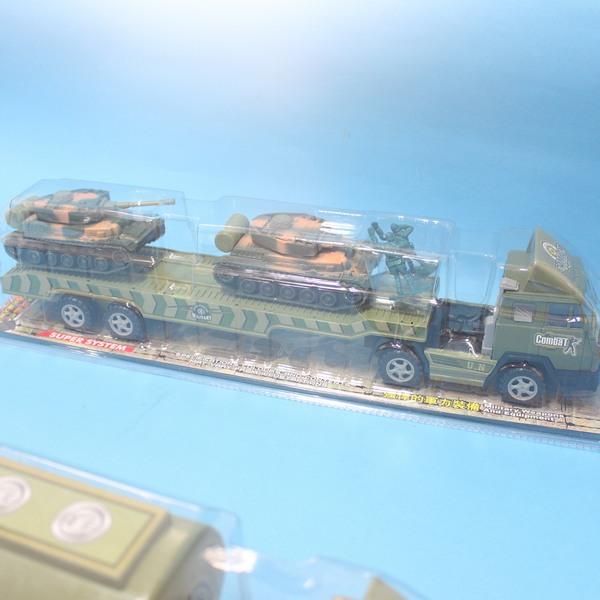 迴力軍事裝備運輸車 軍事拖車+坦克車x2/一盒入{促199}