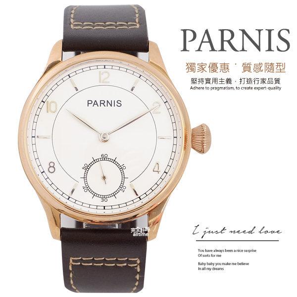 【完全計時】手錶館│PARNIS 手動上鍊經典機械錶PA3114 玫瑰金 後鏤空 新品現貨 42mm l