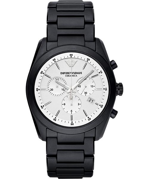 EMPORIO ARMANI/AR1492質感銀亮灰陶腕錶/白面42mm