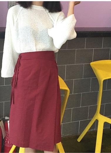 Ms.Perfect 韓國氣質一片式百搭棉麻半身裙中半身裙