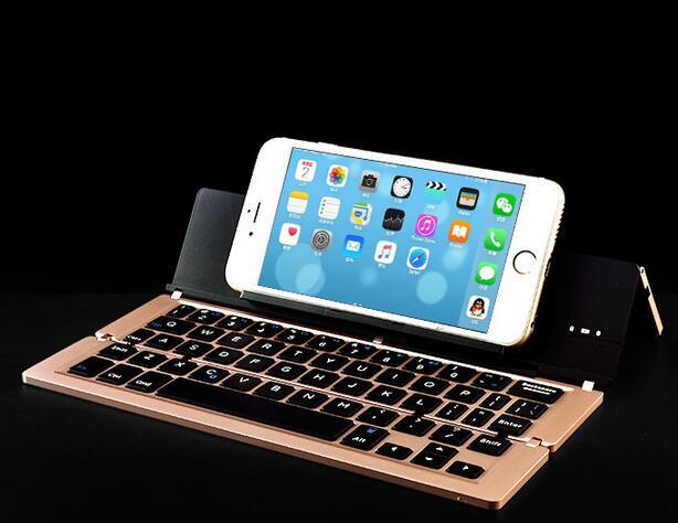 四折疊iphone7蘋果ipad安卓折疊金屬藍牙鍵盤超薄便攜鋁合金鍵盤