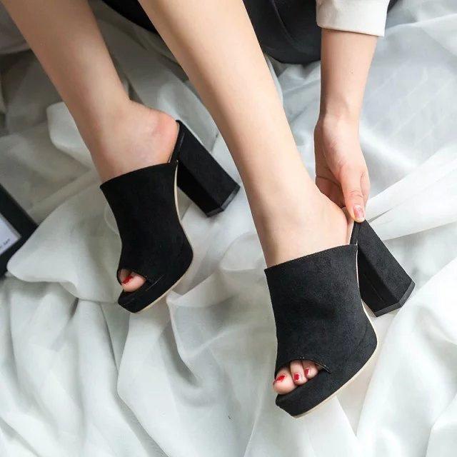 新款歐美街拍時尚高跟拖鞋女魚口露趾鞋厚底粗跟涼鞋拖磨砂皮女鞋部落客推薦款