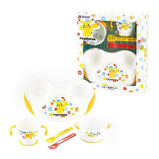 〔小禮堂嬰幼館〕日本Richell 神奇寶貝 皮卡丘 嬰兒餐具禮盒《白.打招呼.盒裝.5件組》寶貝球系列