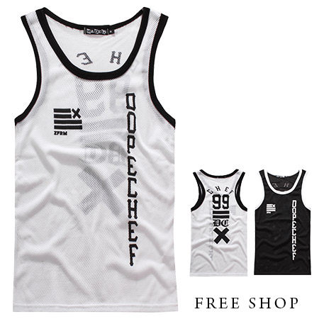 Free Shop【QMD20032】歐美潮流街頭文字印花排汗洞洞網狀材質配色籃球衣運動背心‧二色