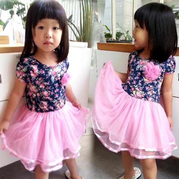 【班比納精品童裝】碎花紗裙洋裝-藍【BO140326022】