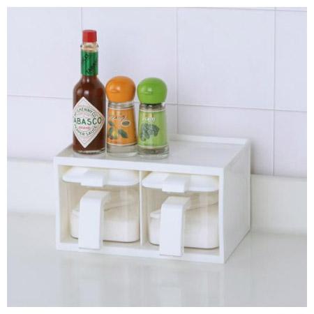 直立橫放調味料架 附調味料盒2個