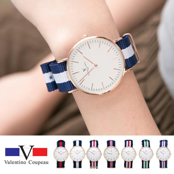 《好時光》Valentino Coupeau 范倫鐵諾 薄型 大錶面簡約線條刻度時尚男錶 女錶-帆布錶帶-單支 激似DW