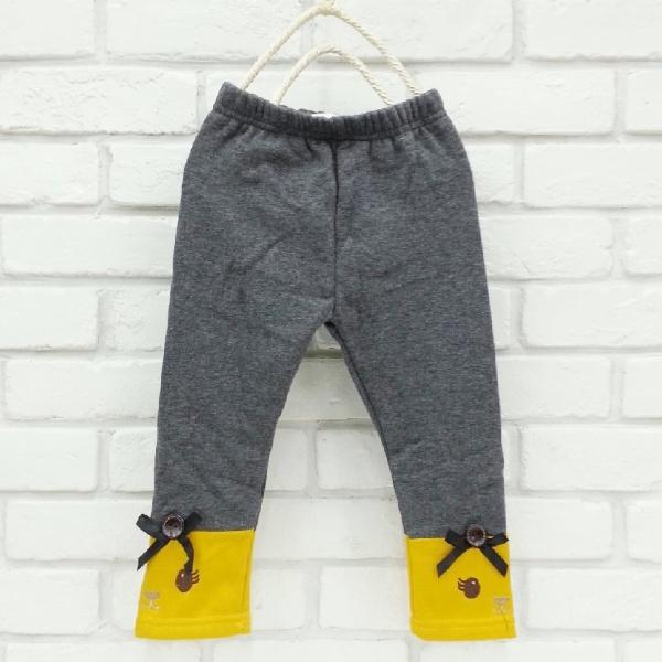 【班比納精品童裝】彈力不倒絨下接拼色小熊內搭褲-鐵灰【BO160121004】