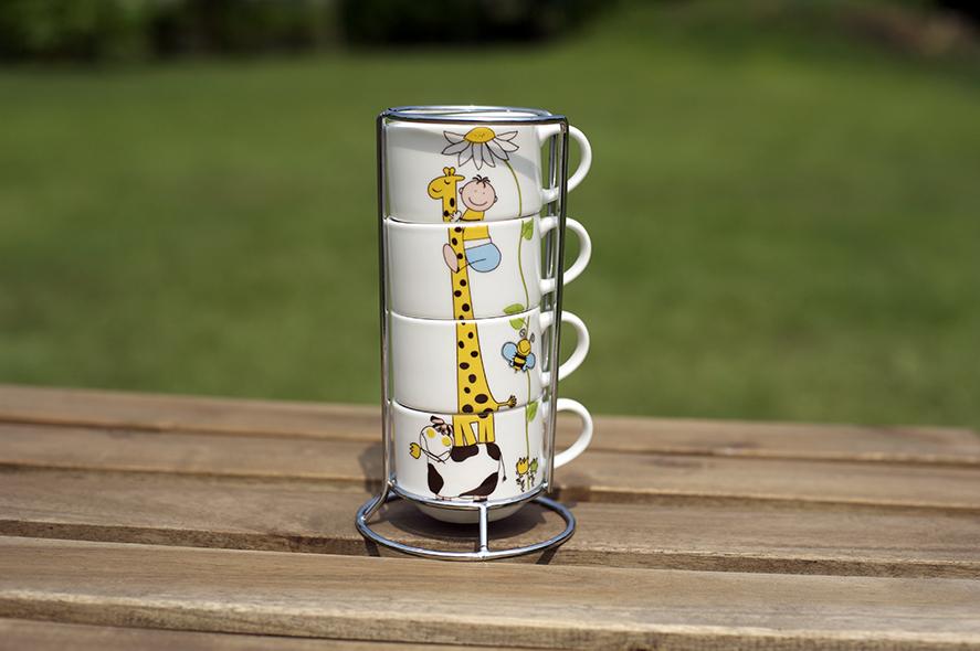 可愛長頸鹿杯4入含杯架