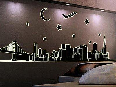 BO雜貨【YV3470】高品質創意夜光壁貼 貼紙 牆貼 背景貼 磁磚貼 螢光diy風景 城市剪影