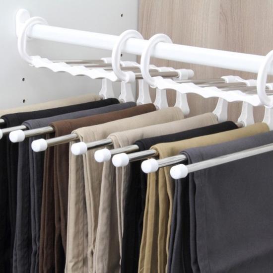 ♚MY COLOR♚不鏽鋼多層褲架 魔術 S型 伸縮 多功能 褲掛 收納 櫥櫃 防皺 衣櫃 防滑 臥室【T28】