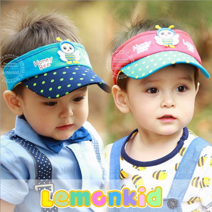 WallFree窩自在★可愛蜜蜂寶寶點點兒童防曬空頂帽