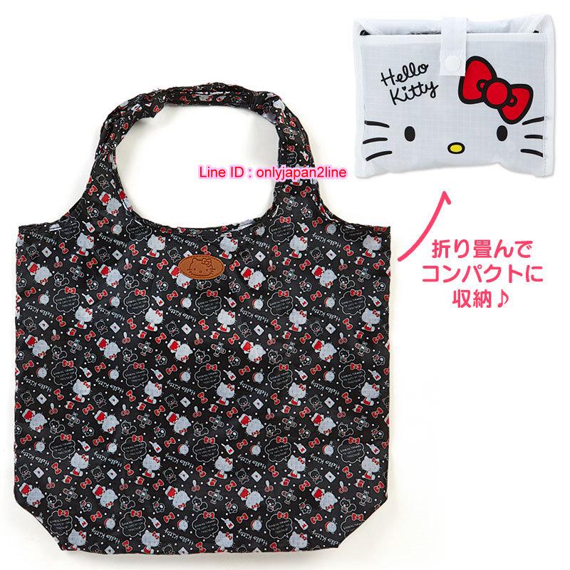 【真愛日本】16111000015可收納環保袋-KT多圖點點黑    三麗鷗Hello Kitty凱蒂貓 旅行袋 收納袋